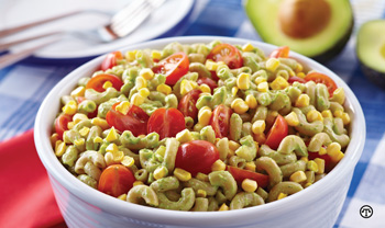 A colorful salad of avocados can make a great family meal or picnic dish.