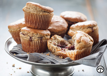 Muffins made with whole wheat flour and fat-free yogurt can make a healthy start to the day.