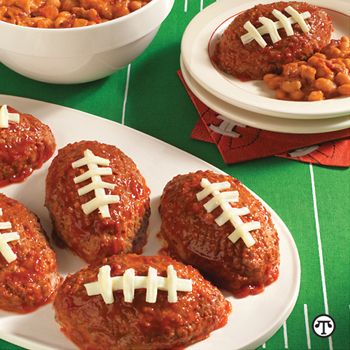 Show your team spirit with these mini meat loaf footballs.