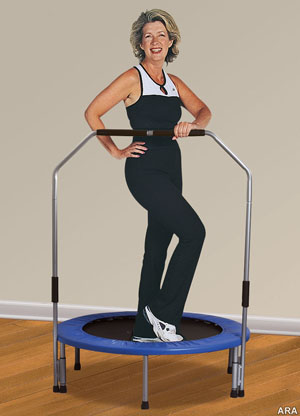 A daily trampoline workout builds muscles.